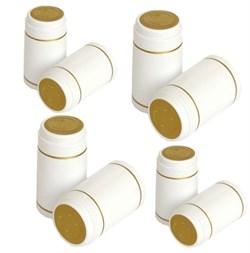 Термоусадочный колпачок для бутылки белый с золотой полосой, 50 шт