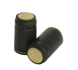 Термоусадочный колпачок для бутылки черный с золотым диском, 50 шт