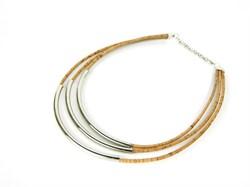 Стильное ожерелье из натуральной пробки